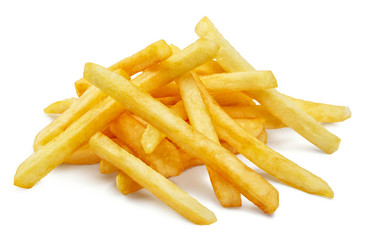 Potato fries, isolated on white background