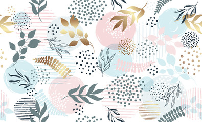 Seamless exotic pattern with tropical plants and gold elements