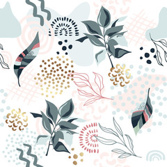 Seamless exotic pattern with tropical plants and gold elements.