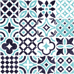 Blue and white tile seamless pattern. Patchwork grunge ornament. Vector illustration.
