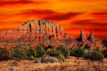Wall Murals Orange Glow Sedona, Arizona, Cathederal mountain desert landscape