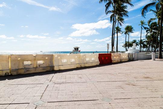 Empty Fort Lauderdale beach, because of coronavirus concerns.