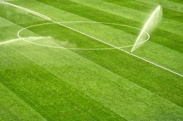 Photo of a soccer stadium. football stadium before the match.