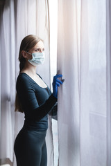 Bored woman in corona quarantine or under curfew