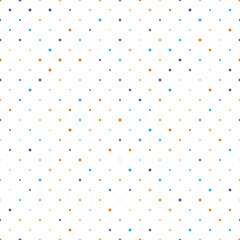 Seamless polka dot pattern. Orange and blue dots in random sizes on white background. Vector illustration