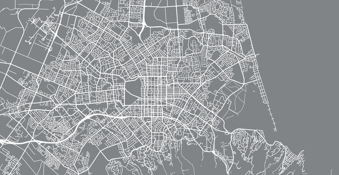 Urban vector city map of Christchurch, New Zealand