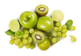 Wall Mural - Heap of green color fruits. Close up.