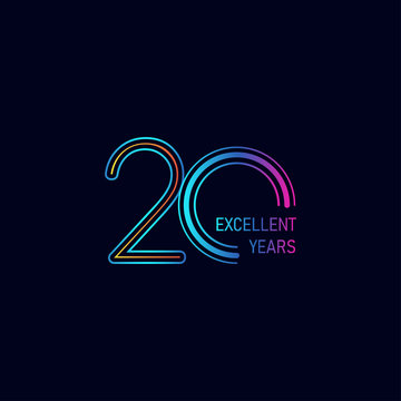 20 Years Excellent Anniversary Celebration Vector Template Design Illustration