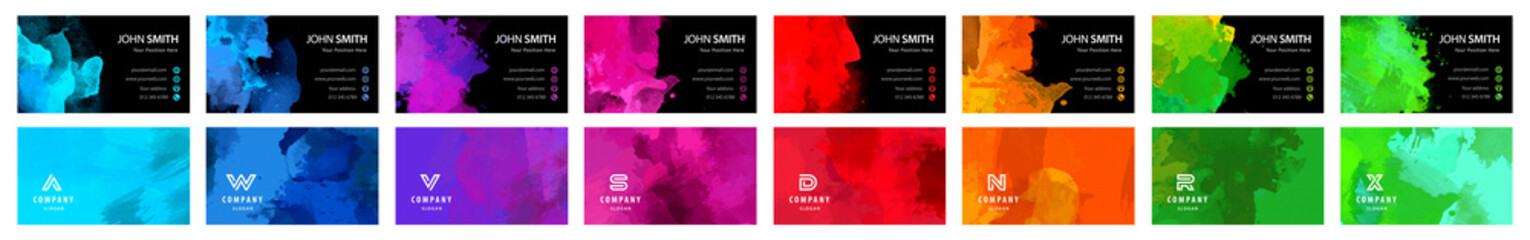 Fotobehang - Big set of bright colorful business card template with vector watercolor black background