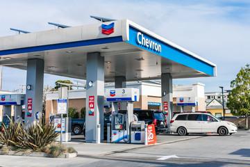 March 6, 2020 San Jose / CA / USA - Chevron gas station in south San Francisco bay area