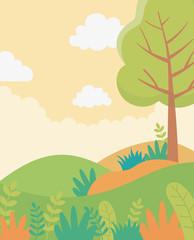 Printed kitchen splashbacks Beige landscape tree hill leaves foliage nature greenery image