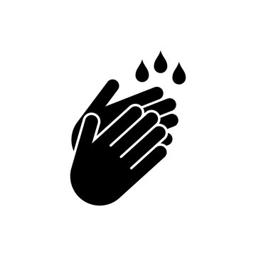 washing hands flat vector icon