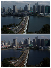 A combination photo of the Woodlands Causeway between Singapore and Malaysia, before and after Malaysia imposed a lockdown on travel over the coronavirus outbreak