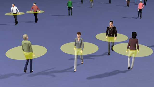 Crowd of people walking and maintaining safe physical distance from others.  Transparent disk defines safety zone to avoid close contact.  Social distancing theme. 3d rendering illustration
