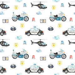 Watercolor seamless pattern with police helicopter, car, motorcycle and flashing lights on a white background.