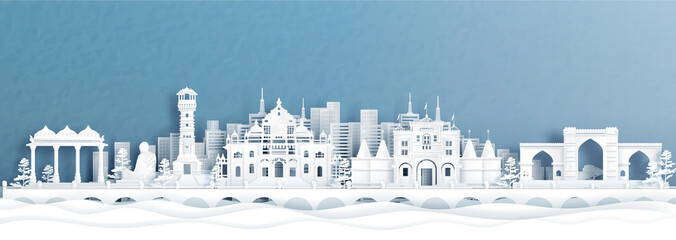 Fototapete - Panorama view of Ahmedabad skyline with India famous landmarks in paper cut style vector illustration.