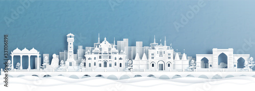 Fototapete Panorama view of Ahmedabad skyline with India famous landmarks in paper cut style vector illustration.