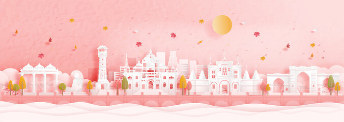 Fototapete - Autumn in Ahmedabad, India with falling maple leaves and world famous landmarks in paper cut style vector illustration
