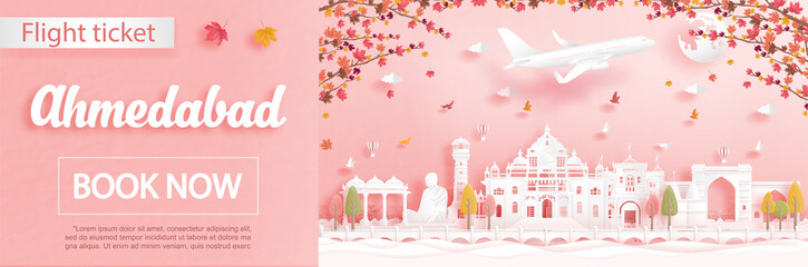 Fototapete - Flight and ticket advertising template with travel to Ahmedabad, India in autumn season deal with falling maple leaves and famous landmarks in paper cut style vector illustration