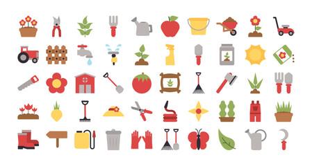 set of icon gardening on white background