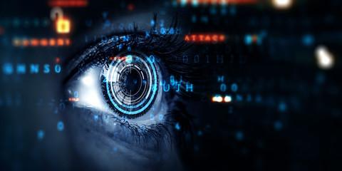 Foto auf Leinwand Iris Close up of woman eye in process of scanning
