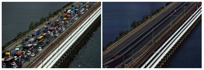 A combination photo of the Woodlands Causeway between Singapore and Malaysia, before and after Malaysia imposed a lockdown on travel over the coronavirus disease (COVID-19) outbreak
