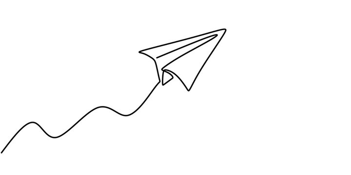 Paper plane drawing vector, continuous single one line art style isolated on white background. Minimalism hand drawn style.
