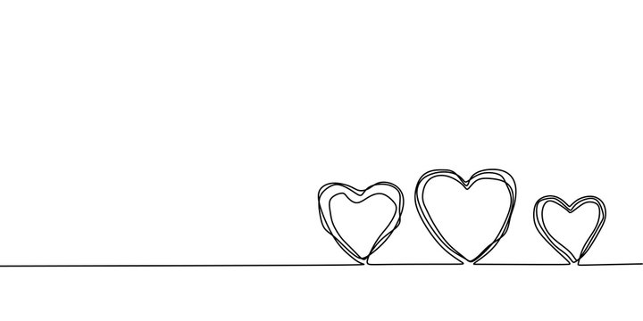 Continuous one line drawing of heart. Symbol of love scribble hand drawn minimalism, artistic lineart with pencil texture.