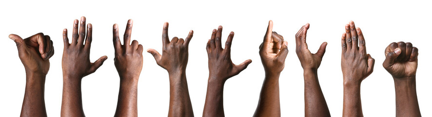 Gesturing hands of African-American men on white background Fototapete