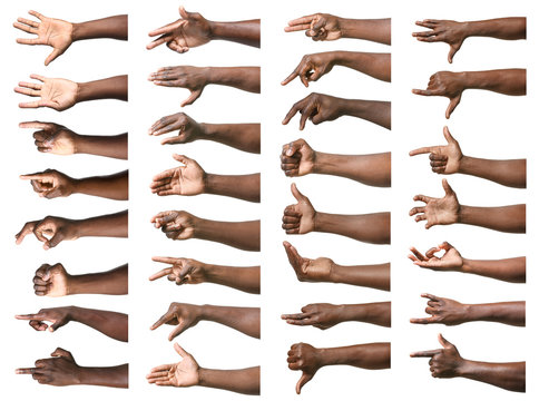 Gesturing hands of African-American men on white background