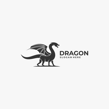 Vector Logo Illustration Dragon Silhouette Style.