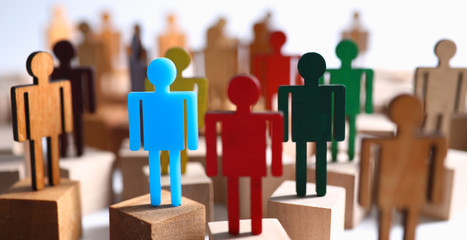 Group multi-colored silhouettes business people teamwork meeting closeup background. Social media...