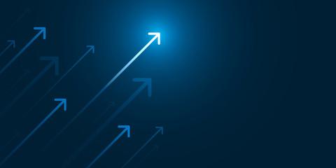 Obraz Up light arrow on dark blue background with copy space, business growth concept. - fototapety do salonu