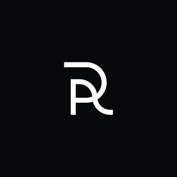 Minimal elegant monogram art logo. Outstanding professional trendy awesome artistic R RP PR AR RA initial based Alphabet icon logo. Premium Business logo White color on black background