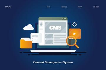 Content management system, manage online media files, blogging platform, content software system, internet and technology concept. Web banner design , landing page template.
