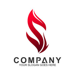 letter S logo with fire shape, initial letter, business name, corporate identity