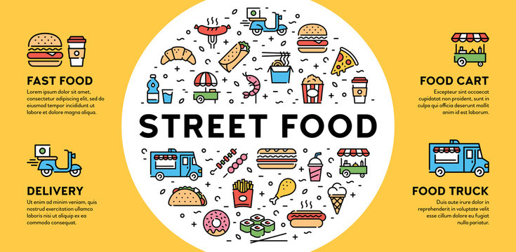 Street Fast Food Icon Banner