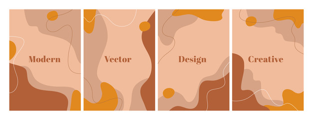 Fototapeta Fashion set of modern design template with abstract organic shapes. Contemporary background for beauty presentation, flyer, banner, poster and branding design. A4 format. Vector illustration