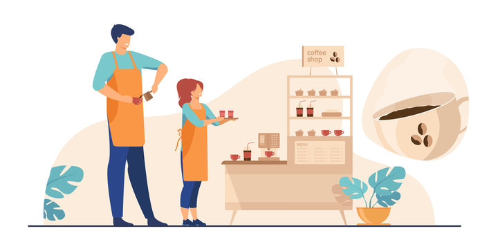 Baristas in coffee shop. Man and woman in aprons making coffee, offering takeaway cup at stand with machine and dessert. Vector illustration for coffee station, food and drink, cafe concept