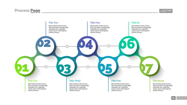 Seven circles slide template. Business data. Graph, diagram, design. Creative concept for infographic, project. Can be used for topics like teamwork, development, planning
