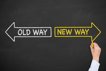 Old Way or New Way on Blackboard Background