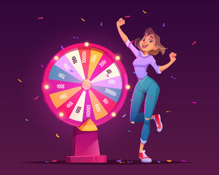 Wheel of fortune and lucky girl winner. Roulette of luck with arrow on jackpot in casino. Vector cartoon illustration of gambling game with money prize and winning woman