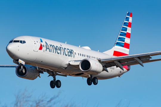 American Airlines Boeing 737 airplane at New York JFK