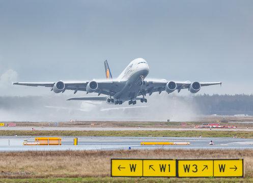 Lufthansa Airbus A380-800 airplane at Frankfurt FRA