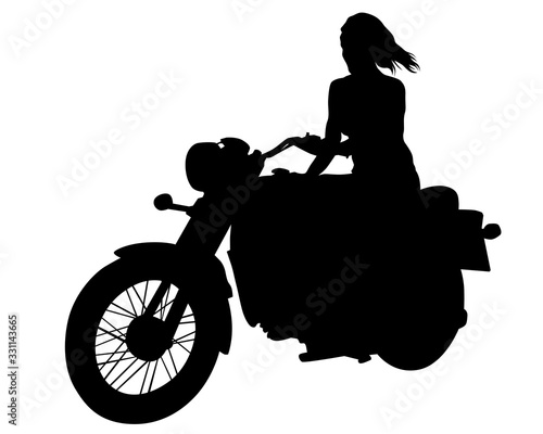 Sticker Beauty women on sports motorcycle. Isolated silhouette on a white background