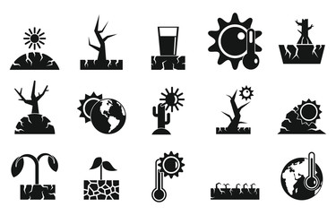 Drought icons set. Simple set of drought vector icons for web design on white background Fotomurales