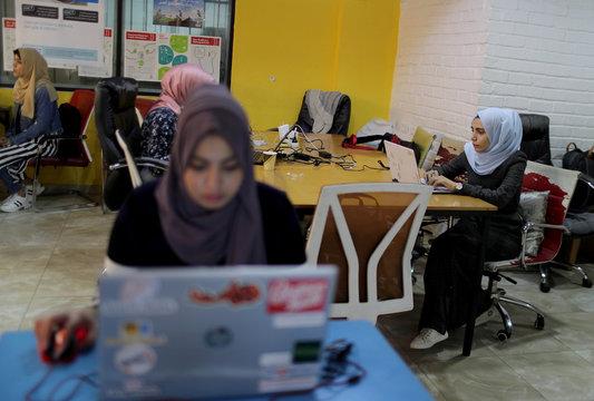 Angham Abu Abed, a Palestinian web developer, works at Gaza Sky Geeks office in Gaza City