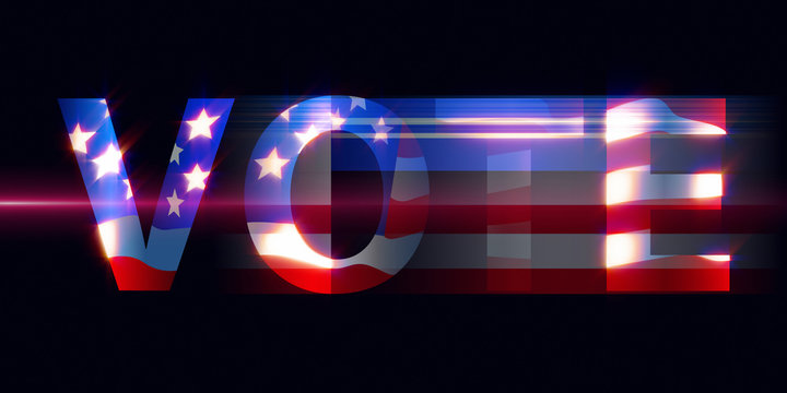 American vote background . Election day voting concept with blue, red, white color in blurred lines.