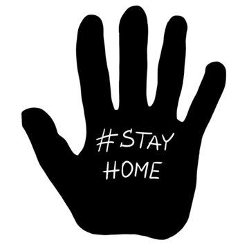 Hand stay home corona virus