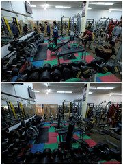 A combination picture shows people activity at a bodybuilding club in Benghazi